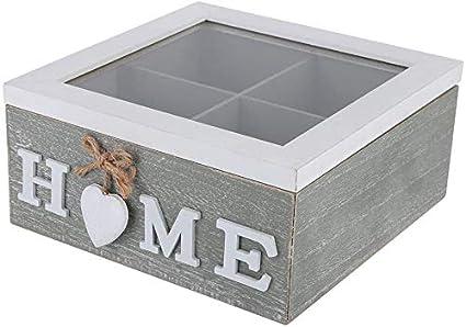 HERCHR Pequeño joyero de Madera, Caja de Almacenamiento Decorativa rústica con Tapa Transparente para tocador de Oficina en el hogar, 7.1 x 7.1 x 3.4in: Amazon.es: Hogar