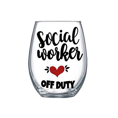 Social Worker Retirement Gift for Women 20oz Funny Stemless Wine Glass 0140
