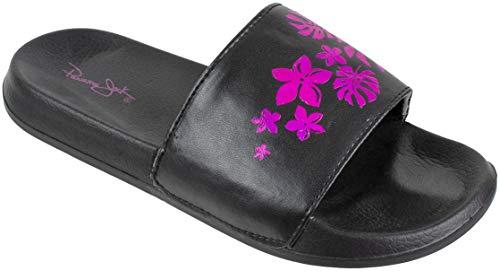Panama Jack Womens Sandal,Beach to Bar Floral Slide Sandals, Women's Size 6-7,Black Pink (Bar Floral)