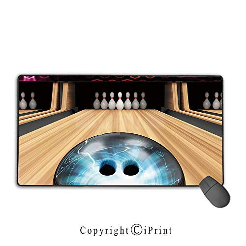 Extended Mousepad with Durable Stitched Edges,Bowling Party Decorations,Ball Rolling on Wooden Lane Image Activity Competition Challenge Decorative,Multicolor, Suitable for offices and homes,15.8