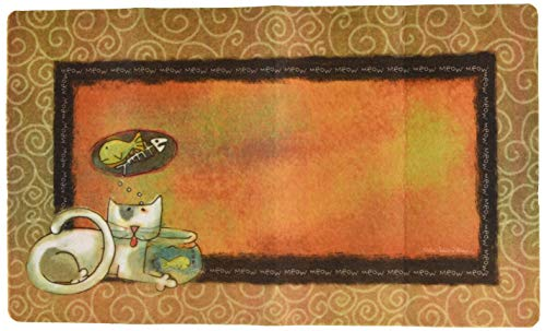Placemat Drymate (Drymate 12 by 20-Inch Cat Bowl with Place Mat in Fish Kitty Design)