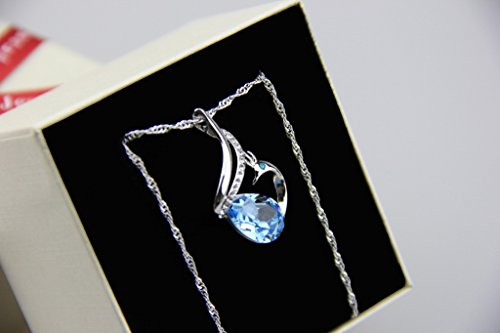 Fortunal NFHXZBLUE Phoenix Necklace with Blue Crystal
