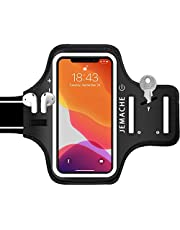 iPhone 12 Pro Max, 11 Pro Max Armband with Airpods Holder, JEMACHE Water Resistant Gym Running Workouts Arm Band Case for iPhone 12 Pro Max, 11 Pro Max, Xs Max with Key Holder (Black)