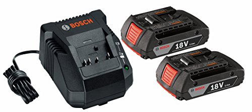 2 18 Gauge Batteries Kit (Bosch SKC181-02 18-Volt Lithium-Ion Starter Kit with (2) 2.0 Ah Batteries and Charger)