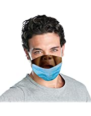 Prank Face Mask Down Trick,TIK_Tok Funny Expression Reusable Mouth Shield for Women Men,Maskless Bandit Prank Masks 2021
