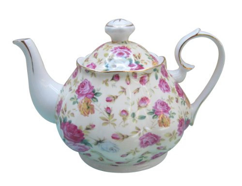 Gracie China Rose Chintz Porcelain 4-1/2-Cup Teapot Cream Cottage Rose ()