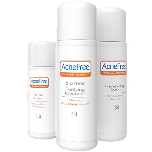 AcneFree 3 Step 24 Hour Acne Treatment Kit - Clearing System w Oil Free Face Wash,  Renewing Toner, & Repair Lotion - Acne Solution with Benzoyl Peroxide & Witch Hazel for Teens and Adults - Original