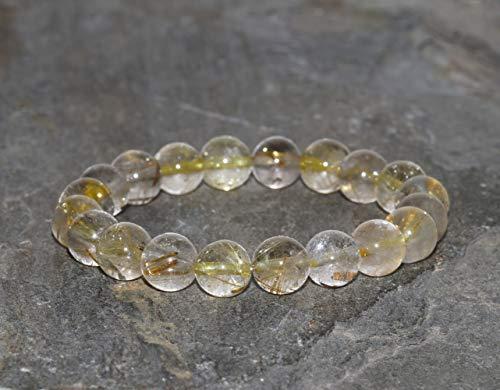 Rutilated Quartz Stacking Bracelet 8.5mm AAA Grade Golden Rutilated Quartz Bracelet Handmade Gold Hair Quartz Bracelet Golden Rutile Quartz