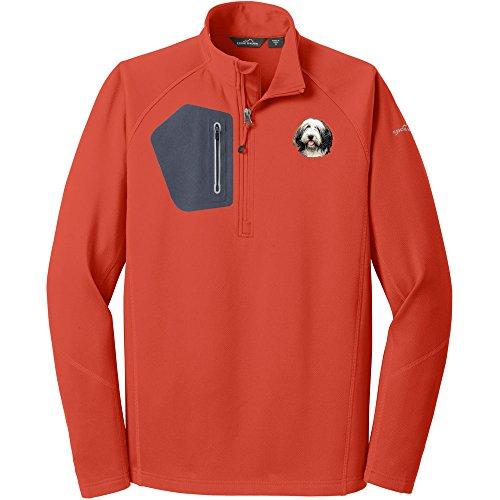 - Cherrybrook Dog Breed Embroidered Eddie Bauer Mens Half Zip Performance Fleece Jacket - XX-Large - Cayenne Orange - Bearded Collie