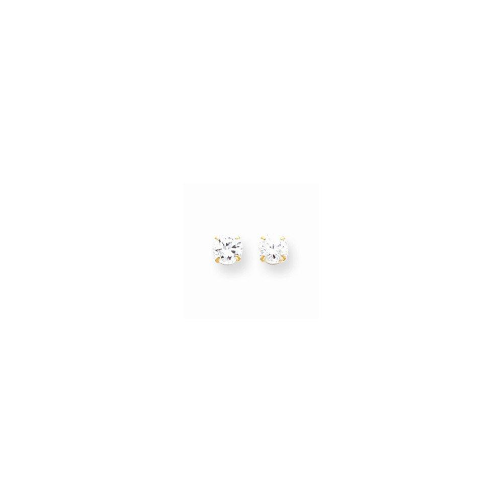 14k Madi K 5.25mm Cz Post Earrings Best Quality Free Gift Box