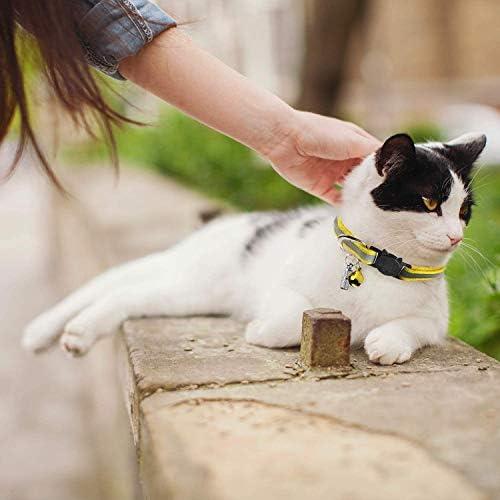 6X Collier Chats Anti Étranglement Chatons Chiots Réglable Réfléchissant avec Clochette et Boucle de Sécurité, Fourniture d'animaux Domestique Multicolore Mignon