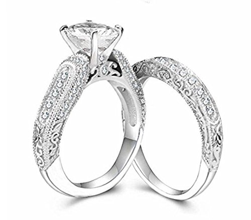 Diamonbella 10 Hearts & Arrows 81 Facets 2 Carat Victorian Simulated Pave Art Deco Diamond Ring Band Set 925 Silver Platinum Plated
