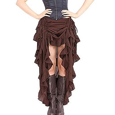WECHERY Women's Steampunk Gothic High Low Cyberpunk Skirt