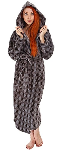 Women's Hotel Fleece Terry Pocketed Bathrobe Robe with Hood, Grey/Black ()