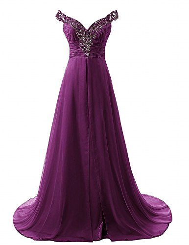 ModeC Long Off the Shoulder Chiffon Beaded Bridal Evening Gowns with Slit Grape US8