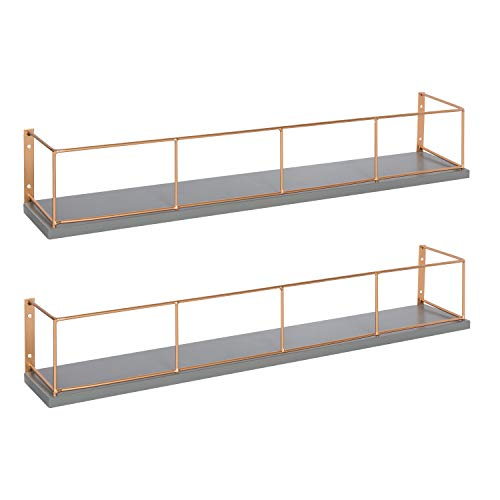 Kate and Laurel Benbrook 24 inch 2-Pack Wood and Metal Floating Wall Shelves, Gray and Rose ()