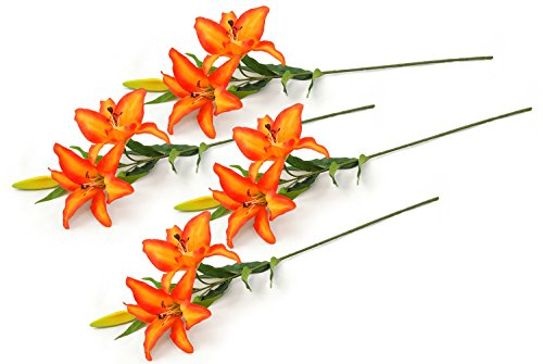 DII 4 Piece Artificial Tiger Lily - Natural Silk Flowers For Bridal Bouquet, Home Decoration, DIY, Arts & Crafts Project, Garden, Office Decor, Centerpiece Décor - Orange - Tiger Lily Flower
