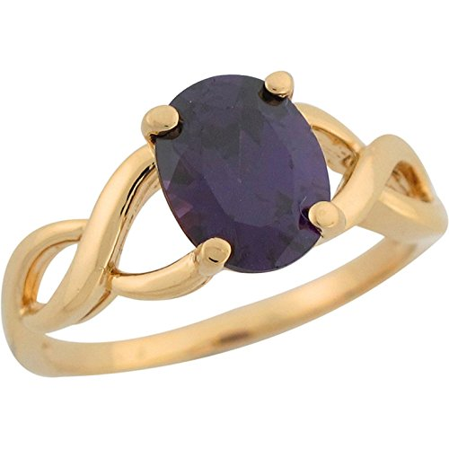 Jewelry Liquidation 10k Yellow Gold Amethyst Solitaire Infinity Design Band Unique Ladies Ring