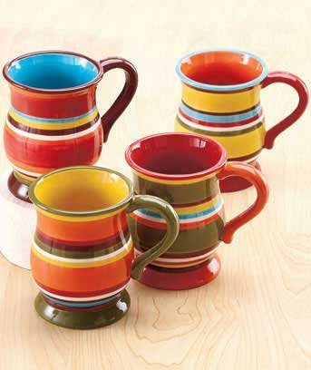 Cheap, Colorful Set of 4 Mugs With Easy-to-Hold Handles in Stripes At 14 0z. Each