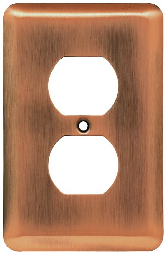 Price comparison product image Liberty Hardware 64112 Stamped Round Single Duplex Wall Plate, Antique Copper