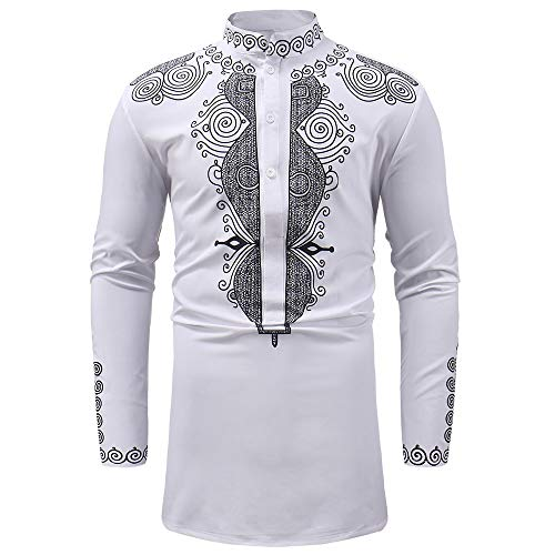2019 New Hot Personality Mens Luxury African Print Long Sleeve Dashiki Shirt Top Blouse by G-Real White