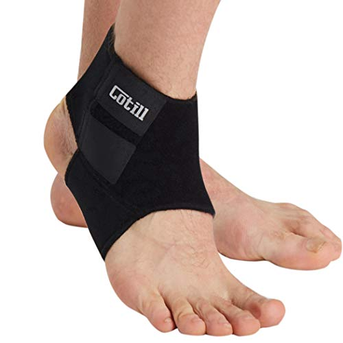 Cotill Ankle Support for Men and Women - Neoprene Breathable Adjustable Ankle Brace Sprain for Running, Basketball (Medium) (Best Ankle Support For Running)