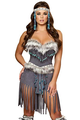 Eskimo Costume Male (Roma Costume 3 Piece Indian Hottie Costume, Grey,)