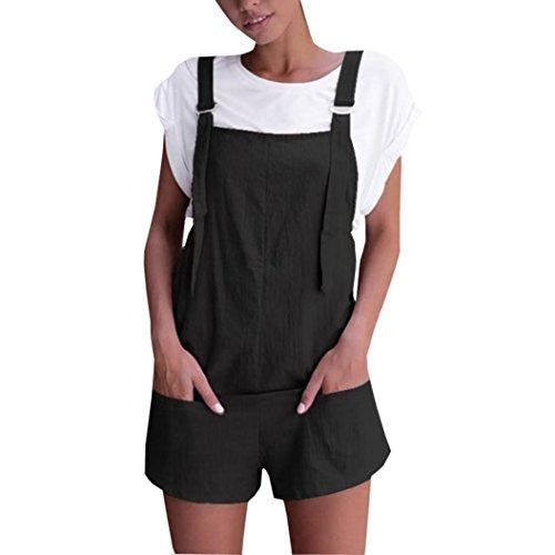 RAISINGTOP Women Overalls and Jumpers Elastic Waist Dungarees Linen Cotton Pockets Rompers Jumpsuit Denim Shorts Pants
