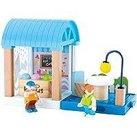 Beebeerun Pretend Play 17 Piece Wooden Dollhouse Ice Cream House Building Block Set