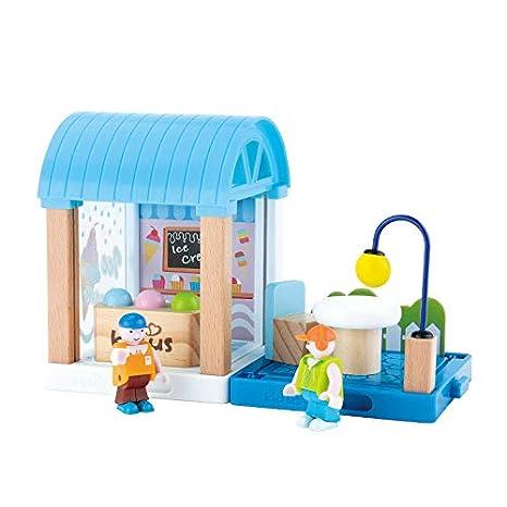 Amazon Com Beebeerun Pretend Play 17 Piece Wooden Dollhouse Ice