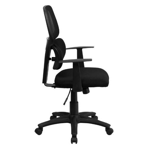 Flash Furniture Mid-Back Black Mesh Swivel Task Chair with Flexible Dual Lumbar Support and Arms