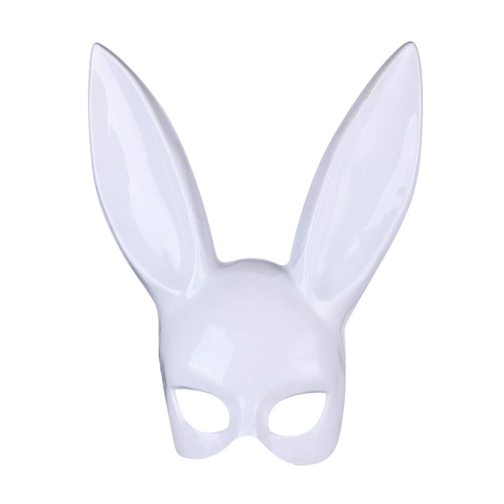 Easter Bunny Ears Mask Half Face Masks Rabbit Hairband Matte Women Costume Masks for Nightclub Bar Masquerade Party  (White)