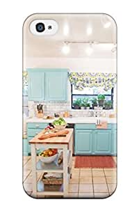 Durable Defender Case For Iphone 4/4s Tpu Cover(blue Cabinetry In Cozy Kitchen)
