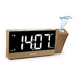 """MIZHMI Projection Alarm Clock, Dual Alarms with FM Radio USB Charging Dimmer 5.5"""" LED 12/24 Hour Display and Dimming Nap/Sleep Timer Snooze Function"""