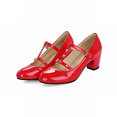 Mee Shoes Womens Sexy Block-heel T-stripe Court Shoes Red c8LfRWW1y