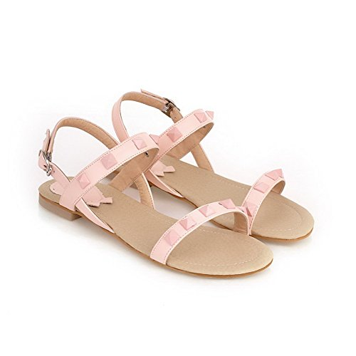 AmoonyFashion Womens Open Toe Soft Material PU Solid Sandals with Rivet Pink EoEa7