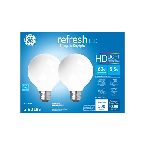 GE Refresh HD Globe Dimmable LED Light Bulbs, G25 Globe Light Bulb (60 Watt Replacement LED Light Bulbs), 500 Lumen, Medium Base Light Bulbs, Daylight, Frosted Finish, 2-Pack LED Bulbs