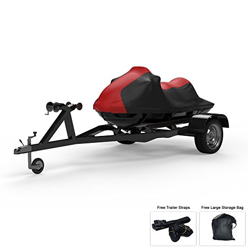 Weatherproof Jet Ski Covers For YAMAHA VX110 2005-2009 - RED/Black Color - All Weather - Trailerable - Protects from Rain, Sun, UV Rays, And More! Includes Trailer Straps And Storage Bag