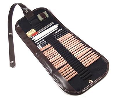 AP Shop, 28 pcs Sketch Pencils Set, Charcoal Pencil Paper Drawing Eraser Set Bag.