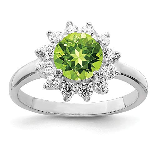 925 Sterling Silver Green Peridot Cubic Zirconia Cz Band Ring Size 6.00 Stone Gemstone Fine Jewelry Gifts For Women For Her