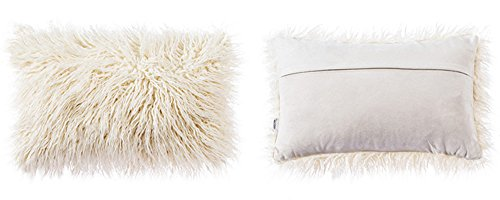 OJIA Deluxe Home Decorative Super Soft Plush Mongolian Faux Fur Throw Pillow Cover Cushion Case (12 x 20 Inch, Beige)
