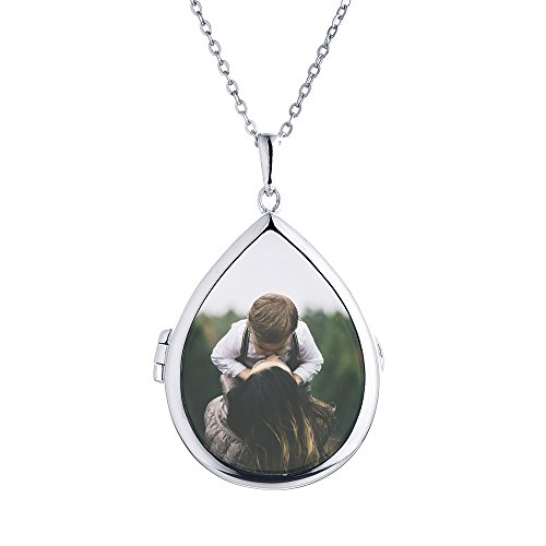 With You Lockets-Sterling Silver-Glass-Custom Photo Locket Necklace-That Holds Pictures for Women-The Sky