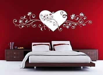 Grandora W678 Wandtattoo Herz mit Blumenranke Liebe Schlafzimmer ...