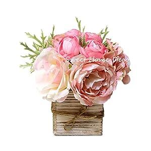 "Sweet Home Deco 8"" Silk Rose Peony Hydrangea Mixed Flower Arrangement w/ Wood Vase Wedding Home Decorations (Light Pink)"