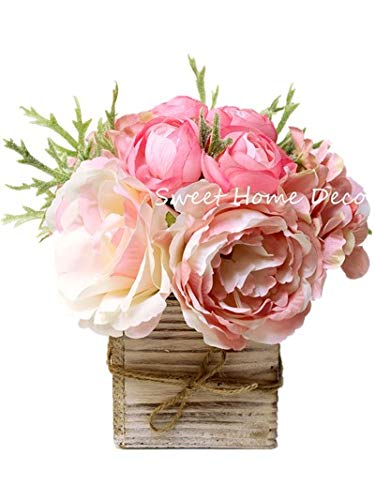 Sweet Home Deco 8'' Silk Rose Peony Hydrangea Mixed Flower Arrangement w/ Wood Vase Wedding Home Decorations (Light Pink)