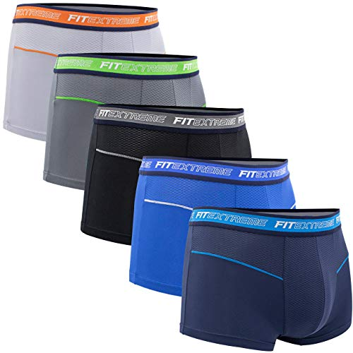 FITEXTREME Mens 5 Pack Cool Sporty Performance Stretch Short Boxer Briefs L