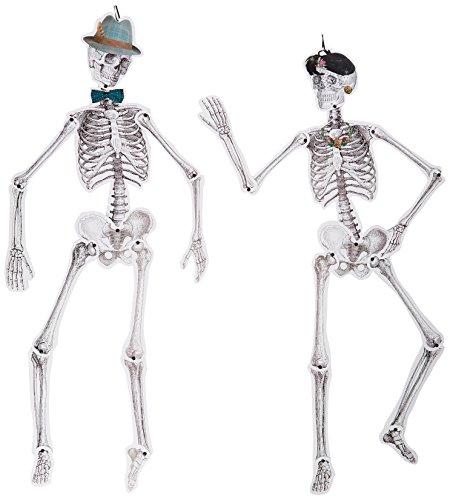 Talking Tables Halloween Décor | Skull Décor | Paper Skeleton Life Size | 2 Pack, Mr & Mrs -