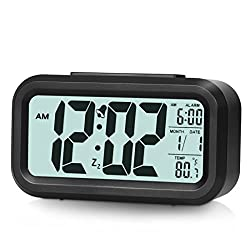 Alarm Clock Digital Clock Smart Backlight with Dimmer (Black)