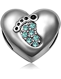 Birthstone Crystal Charms Solid 925 Sterling Silver Baby Footprint Heart Bead Charm