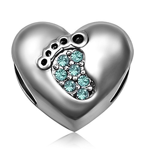 JMQJewelry Heart Christmas Birthstone Baby Love Footprints March Crystal Charm Beads for Bracelets